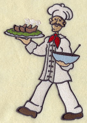 A master chef serves dinner machine embroidery design.
