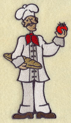 A master chef with bread and tomato machine embroidery design.