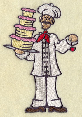 A master chef serves dessert machine embroidery design.