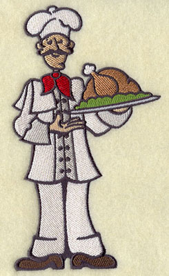 Master chef with turkey machine embroidery design.