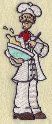 A master chef whisking eggs machine embroidery design.