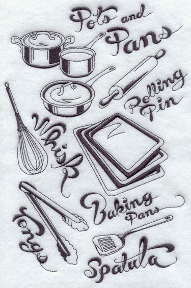 Bakeware medley machine embroidery design.