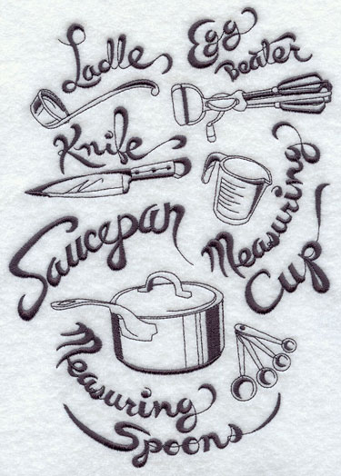 Kitchenware medley machine embroidery design.
