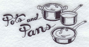 Pots and pans machine embroidery design.