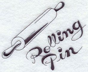 Rolling pin machine embroidery design.
