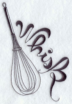 Whisk machine embroidery design.