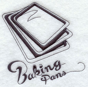 Baking pans machine embroidery design.
