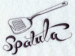 Spatula machine embroidery design.