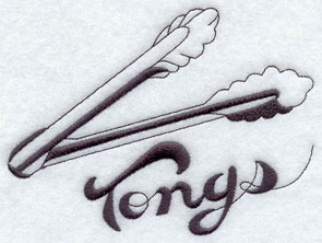Tongs machine embroidery design.