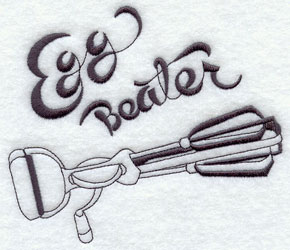 Egg beater machine embroidery design.