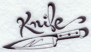 Knife machine embroidery design.