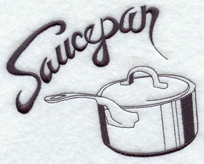 Saucepan machine embroidery design.
