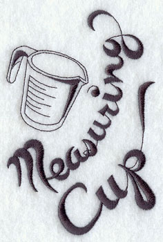 Measuring cup machine embroidery design.