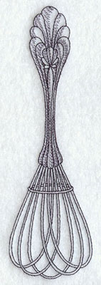 Antique vintage whisk machine embroidery design.
