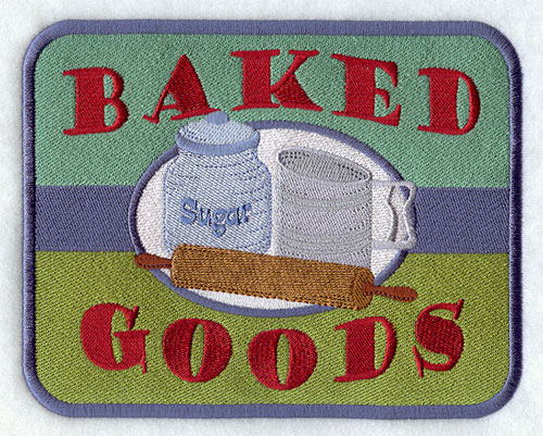 Baked goods vintage kitchen sign machine embroidery design.