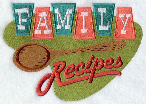 Family recipes vintage kitchen sign machine embroidery design.