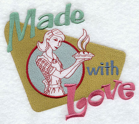 Made with love vintage kitchen sign machine embroidery design.