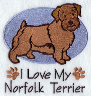 """I Love My Norfolk Terrier"" dog machine embroidery design."