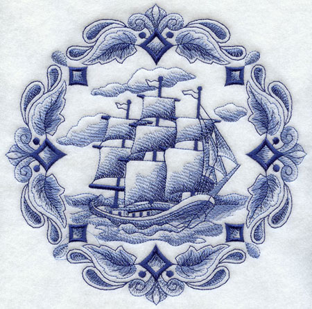 A machine embroidered Delft blue tall sailing ship.