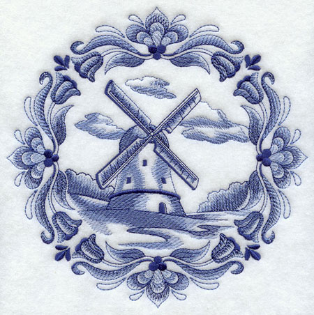 A classic Dutch windmill inside a floral medallion machine embroidery design.