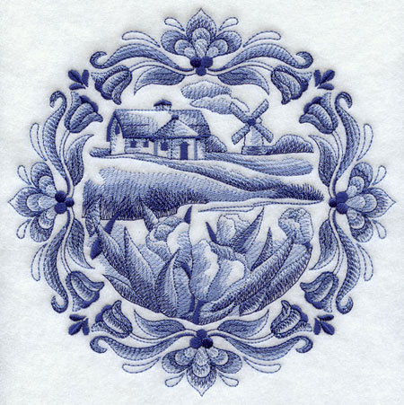 A country cottage machine embroidery design in the classic Delft blue style.