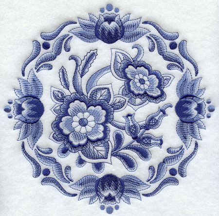 Delft blue floral medallion machine embroidery design.