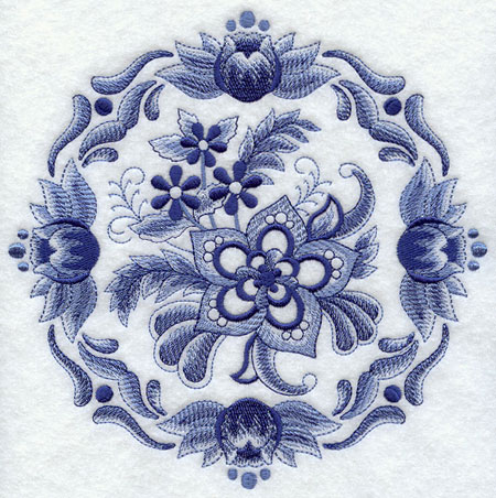 Delft blue floral circle machine embroidery design.