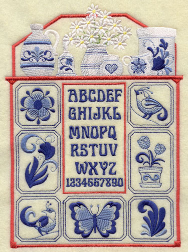 A country sampler with alphabet, butterflies, birds, flowers and more in the classic Delft blue style of machine embroidery.