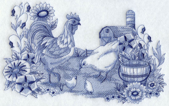 A Delft blue barnyard scene machine embroidery design, with a rooster and hen watching over their baby chicks.