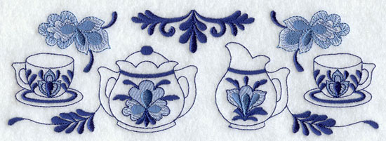 A teapot and tea cup border in Delft blue shades machine embroidery design.