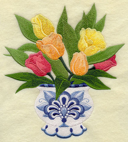 Brightly colored tulips in a classic Delft Blue vase machine embroidery design.