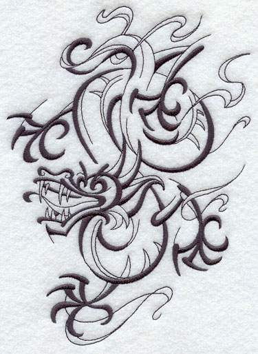 Intricate Ink dragon machine embroidery design.