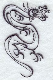 Intricate Ink dragon machine embroidery design.
