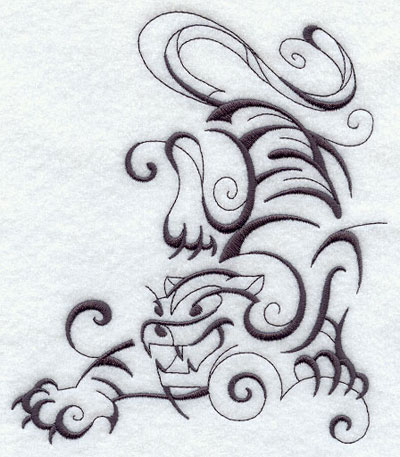 Intricate Ink tiger machine embroidery design.