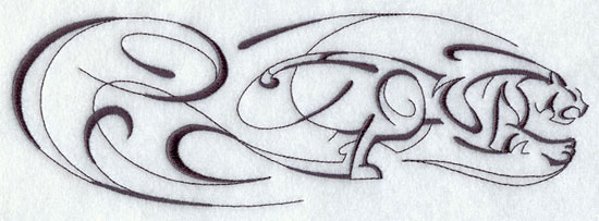 Intricate Ink tiger machine embroidery design border.