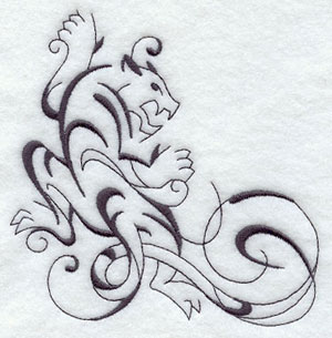 Intricate Ink tiger machine embroidery corner design.