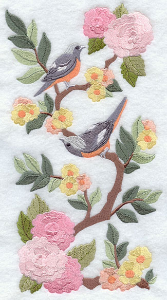 Chinoiserie-style bird and floral machine embroidery design panel.