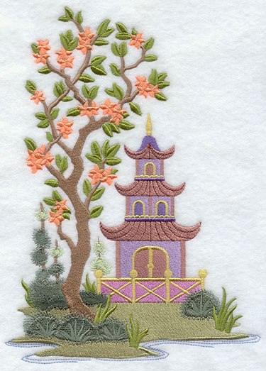 An Asian pagoda machine embroidery design.