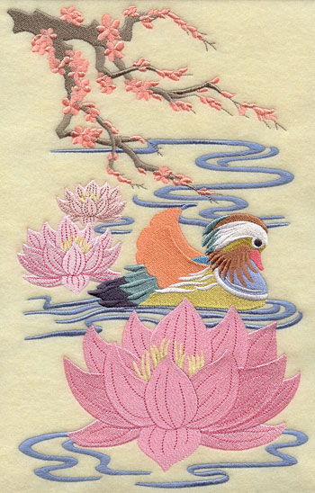A Mandarin Duck floats with lotus blossoms in a Chinoiserie style machine embroidery design.