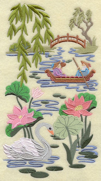A swan and boat on a serene pond machine embroidery design.
