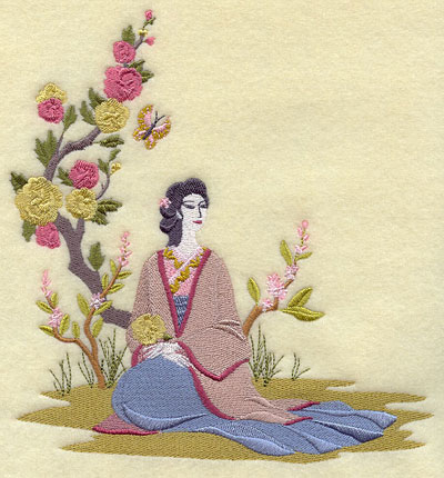 A woman and a butterfly under a flowering tree machine embroidery design.