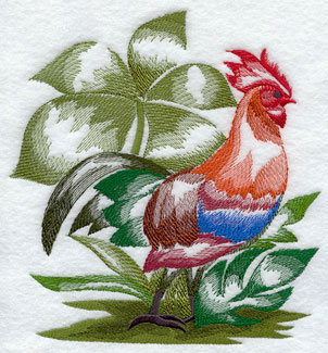 A Red Junglefowl amid foliage machine embroidery design.