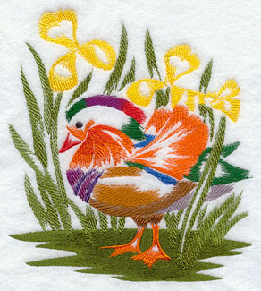 A Mandarin Duck and flowers machine embroidery design.