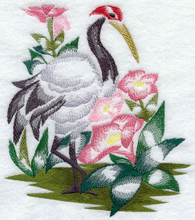 A Red Crowned crane and flowers machine embroidery design.