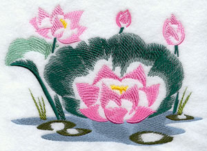 Lotus blossoms machine embroidery design.
