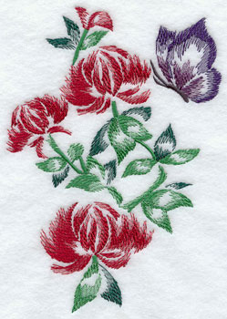 Butterfly and chrysanthemums machine embroidery design.