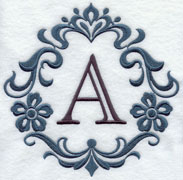 Machine embroidery damask alphabet.