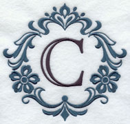 Machine embroidery damask letters.