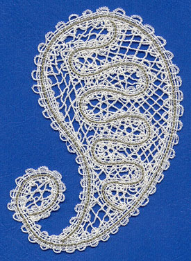 Battenburg lace paisley design.