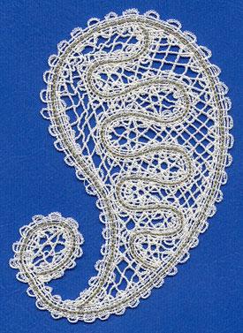 Battenburg lace paisley design.